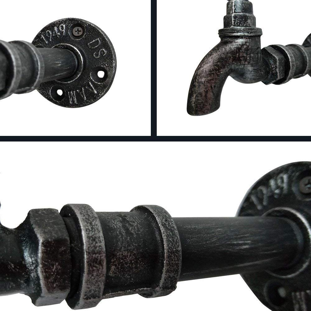 2 Pcs Industrial Iron Pipe Coat Hook Wall Mounted Bathroom Towel Holder Office Entryway Foyer Hallway Bedroom Rail Decor DIY Water-tap Design by VINTAGELIVING (Image #2)