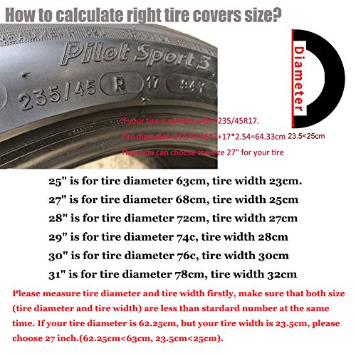 Tire Covers for RV Wheel 30 inch Set of 4 Waterproof Oxford Tires Protector Covers for Motorhome Truck Trailer Camper Auto (30'' for Tire Diameter 76cm, Tire Width 30cm by Tsofu (Image #2)