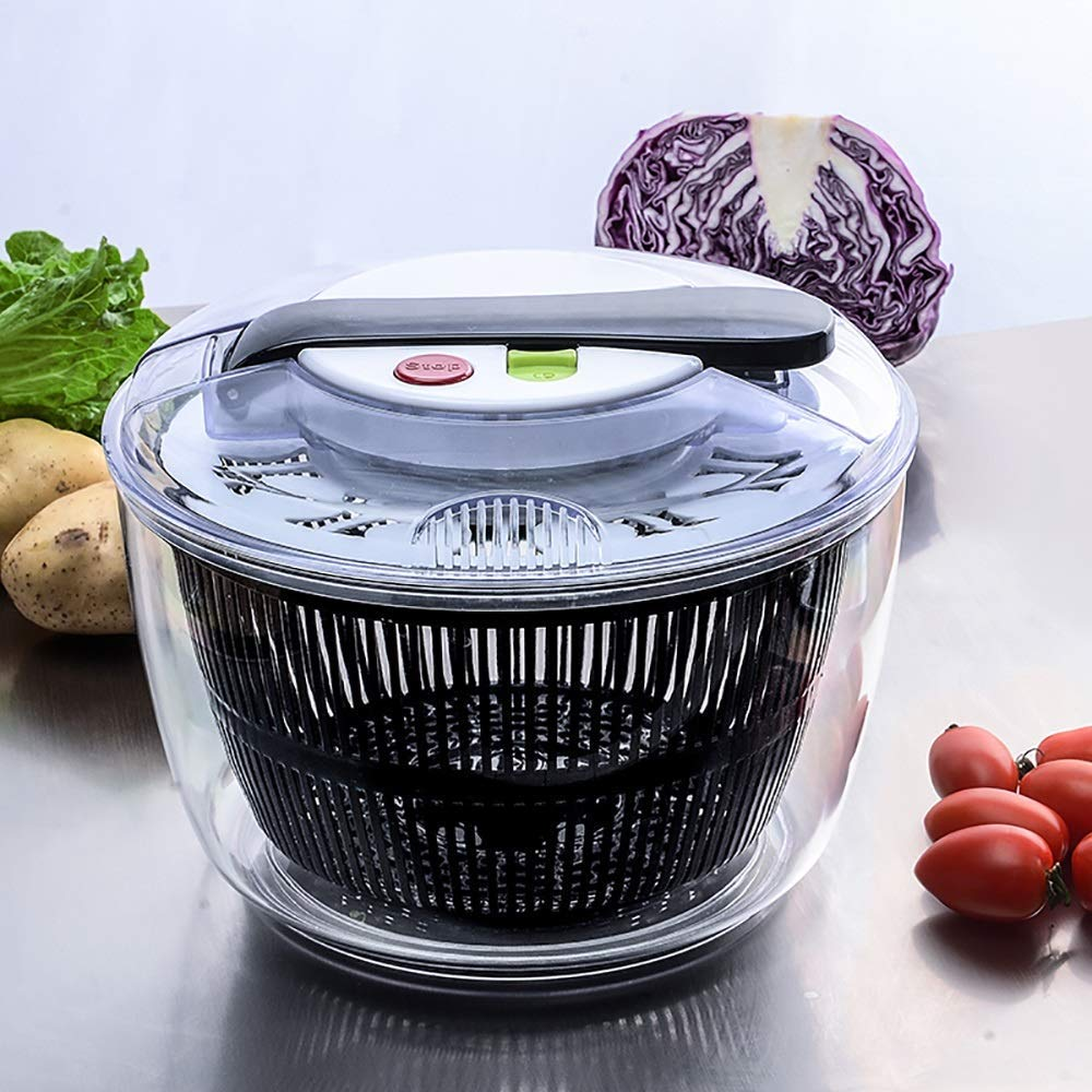 Aich Kitchen Salad Fruit Spinner Home Salad Sink Push-Type Vegetable Dehydrator Creative Kitchen Salad Fruit Cleaning Water Dewatering Machine by Aich