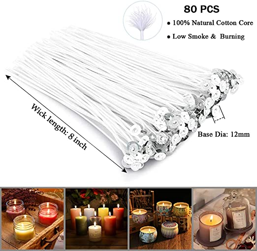 70 Pcs Metal Candle Wick Sustainer Tabs and 1 Pcs Candle Wick Centering Device for Candle DIY Crafts Candle Making Wicks 140Pcs 8 Inch Candle Wicks and 140Pcs Candle Wick Stickers