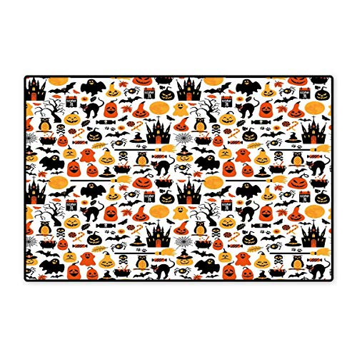 Halloween Door Mat Small Rug Halloween Icons Collection Candies Owls Castles Ghosts October 31 Theme Bath Mat for Bathroom Mat 16