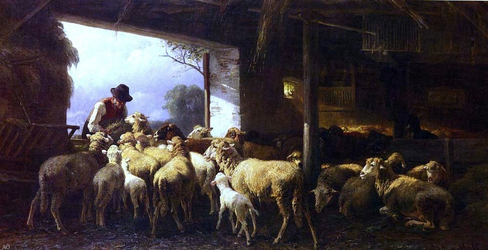 Christian Friedrich Mali Feeding The Sheep - 15'' x 30'' 100% Hand Painted Oil Painting Reproduction by Art Oyster