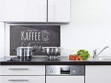 GRAZDesign Wandpaneele Küche Bar - Fliesenspiegel Küche Kaffee -  Glasrückwand Küche Küchenspruch - Küchenrückwand Glas Grau / 60x40cm / ...