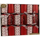 Pack Of 6 - Luxury Red & White Traditional Christmas Crackers - Dinner Party Christmas Crackers