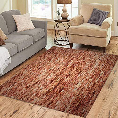 (Pinbeam Area Rug Rustic Red Brick Wall Vignetted Corners of Interior Home Decor Floor Rug 3' x 5' Carpet)