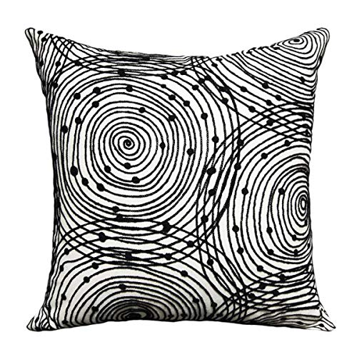 FINOHOME Throw Pillow Covers Embroidered Pillow Case Square Decorative Cushion Cover Euro Sham For Sofa Bed,Black White,18 x 18 Inches,Circle,1 pcs