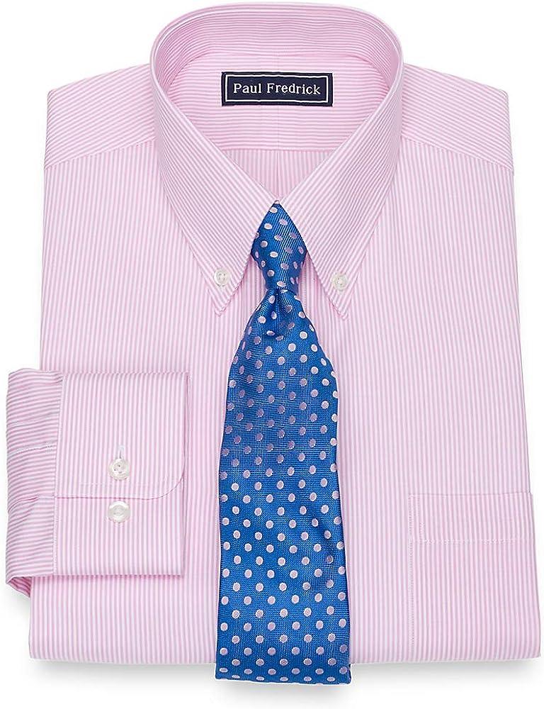 Paul Fredrick Mens Cotton Fine Line Stripe Button Cuff Dress Shirt