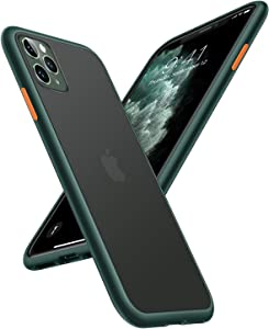 TORRAS Shockproof Designed for iPhone 11 Pro Max Case, [Military Grade Drop Protection] [Anti-Scratches] Translucent Matte Hard PC Back with Soft Edges, Non-Slip for iPhone 11 Pro Max, Midnight Green