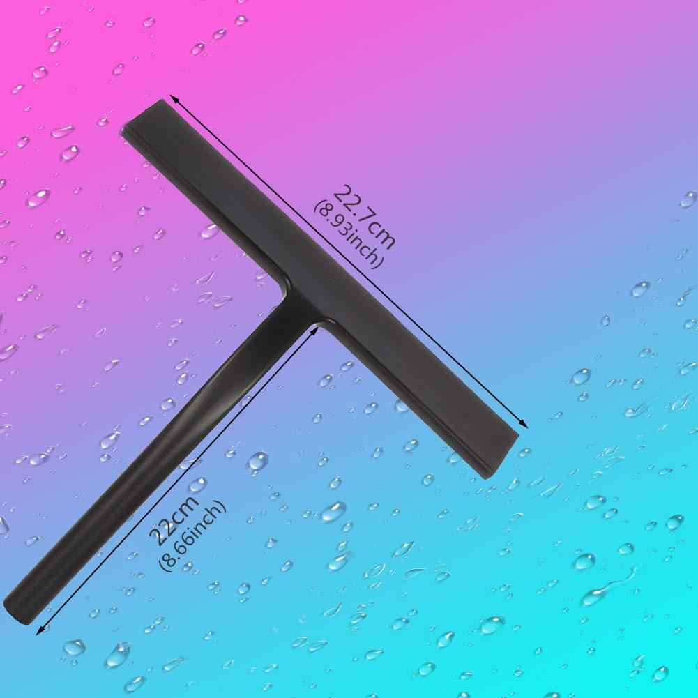 miuse Duschabzieher Silikon mit Edelstahl-Kern Abzieher Dusche f/ür Spiegel Fenster Glasreinigung Fensterabzieher Badezimmerwischer mit Wandaufh/änger ohne Bohren
