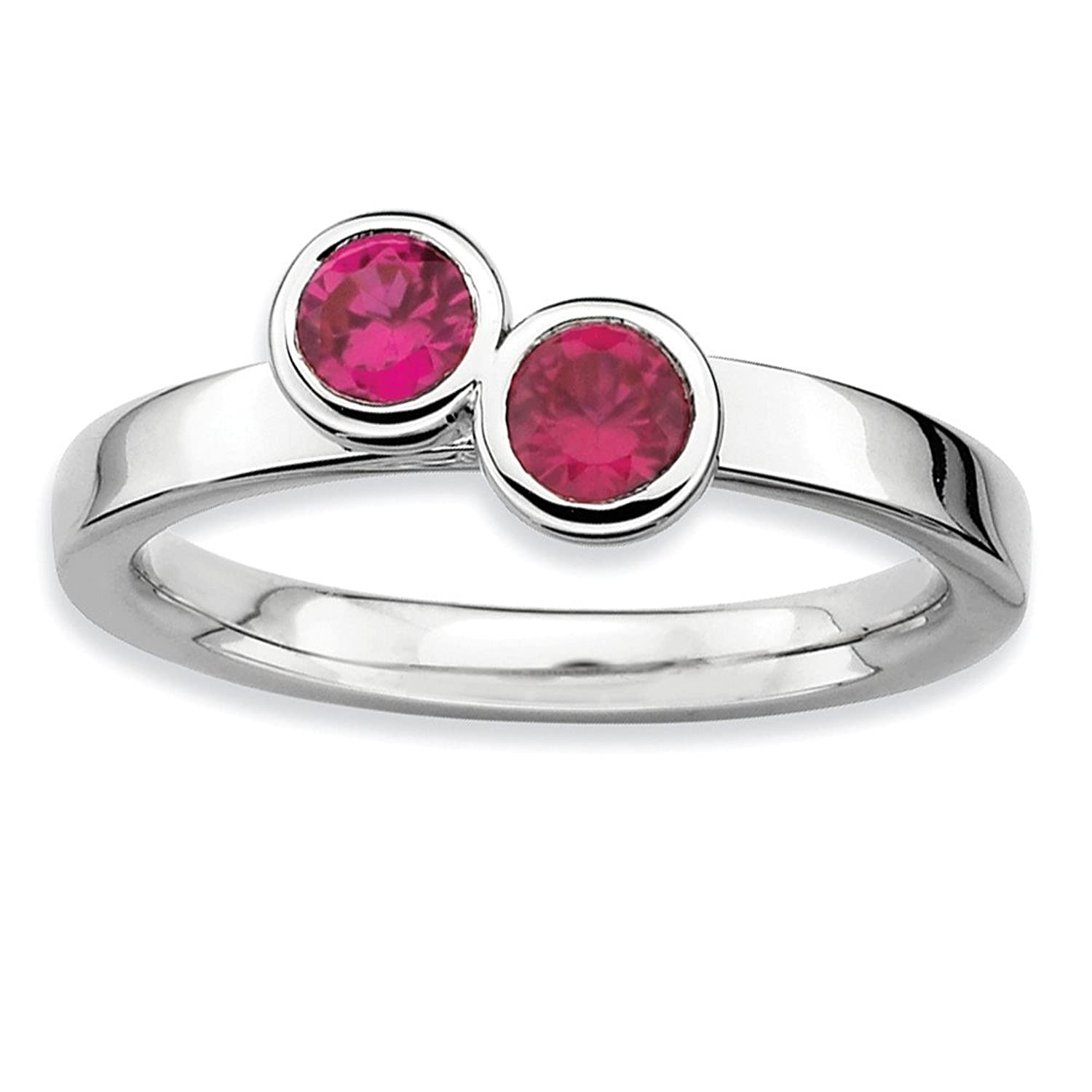 Roy Rose Jewelry Sterling Silver Stackable Expressions Double Round Created Ruby Ring