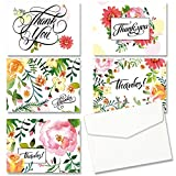 JOFANZA Thank You Card Pack of 30PCS Note Card Assorted with 5 Flower Design 30PCS Greeting Card Blank Inside with Envelopes