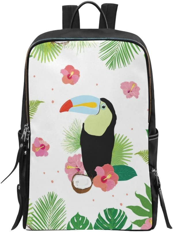Yunshm Tropical Plants And Flowers With Toucan Parrot Trolley Handbag Waterproof Unisex Large Capacity For Business Travel Storage