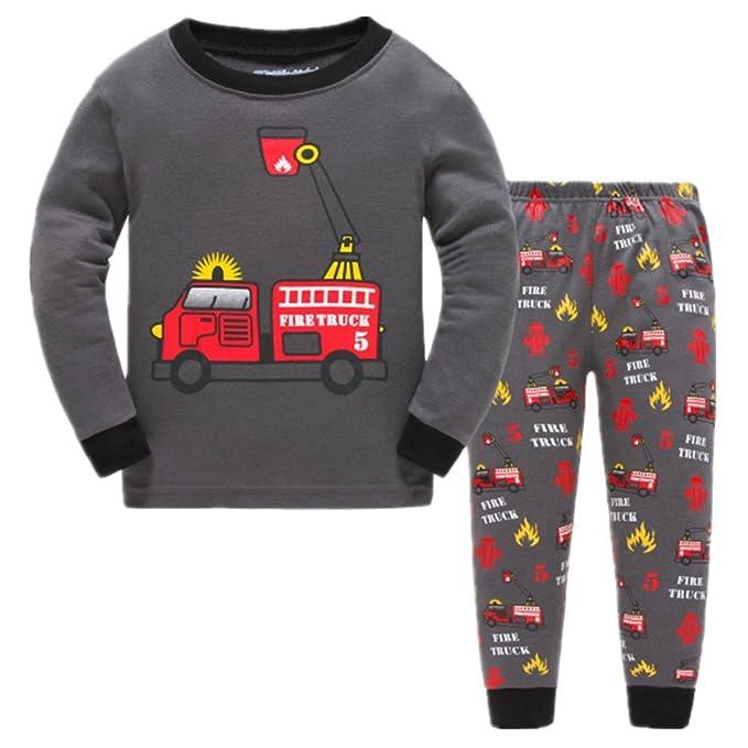Amazon.com: Pijama Pijamas de camión de bomberos para niños ...