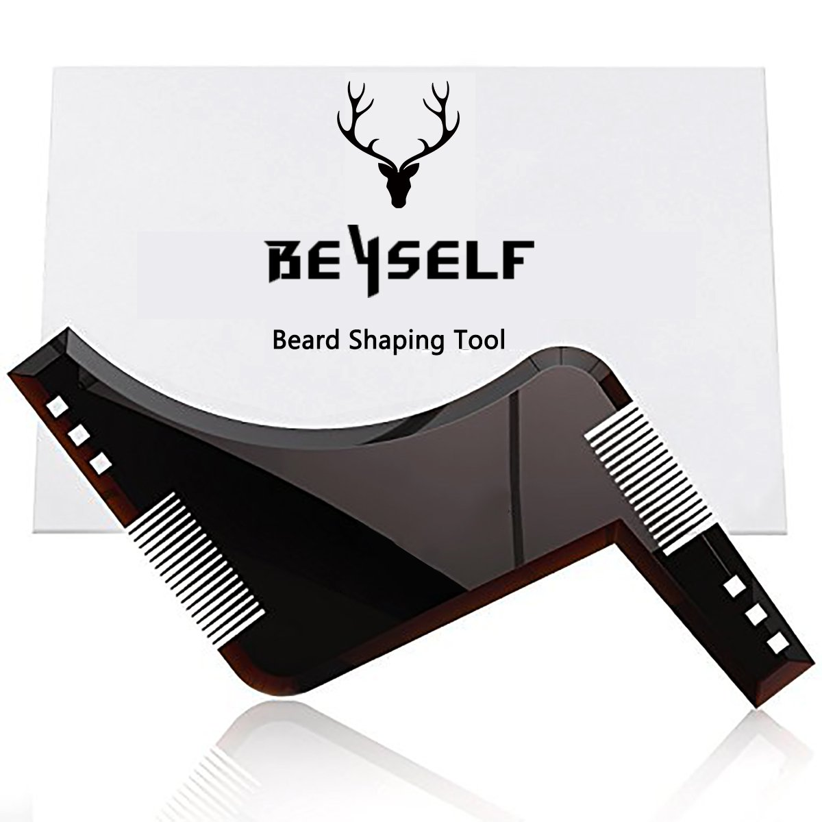 Peigne pochoir barbe homme, BeYself Beard Shaping Template Tool & Beard Comb, qualité supérieure Beard Shaper