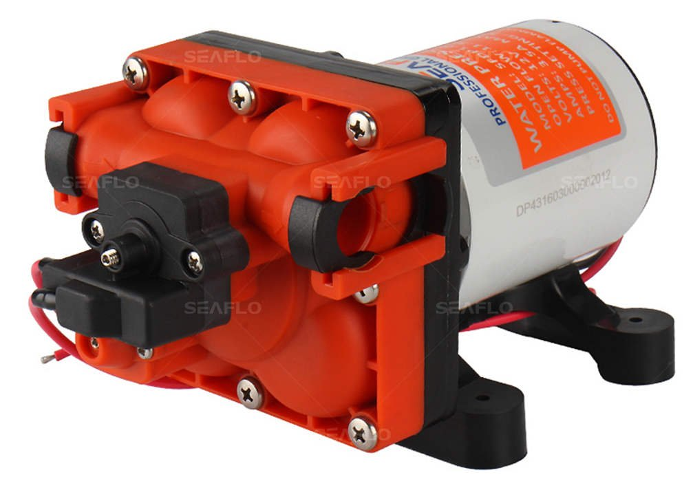 Seaflo 12V 3.0 GPM 55 PSI Quick Connect Water Pressure Diaphragm Pump with Internal Bypass Valve to reduce cycling