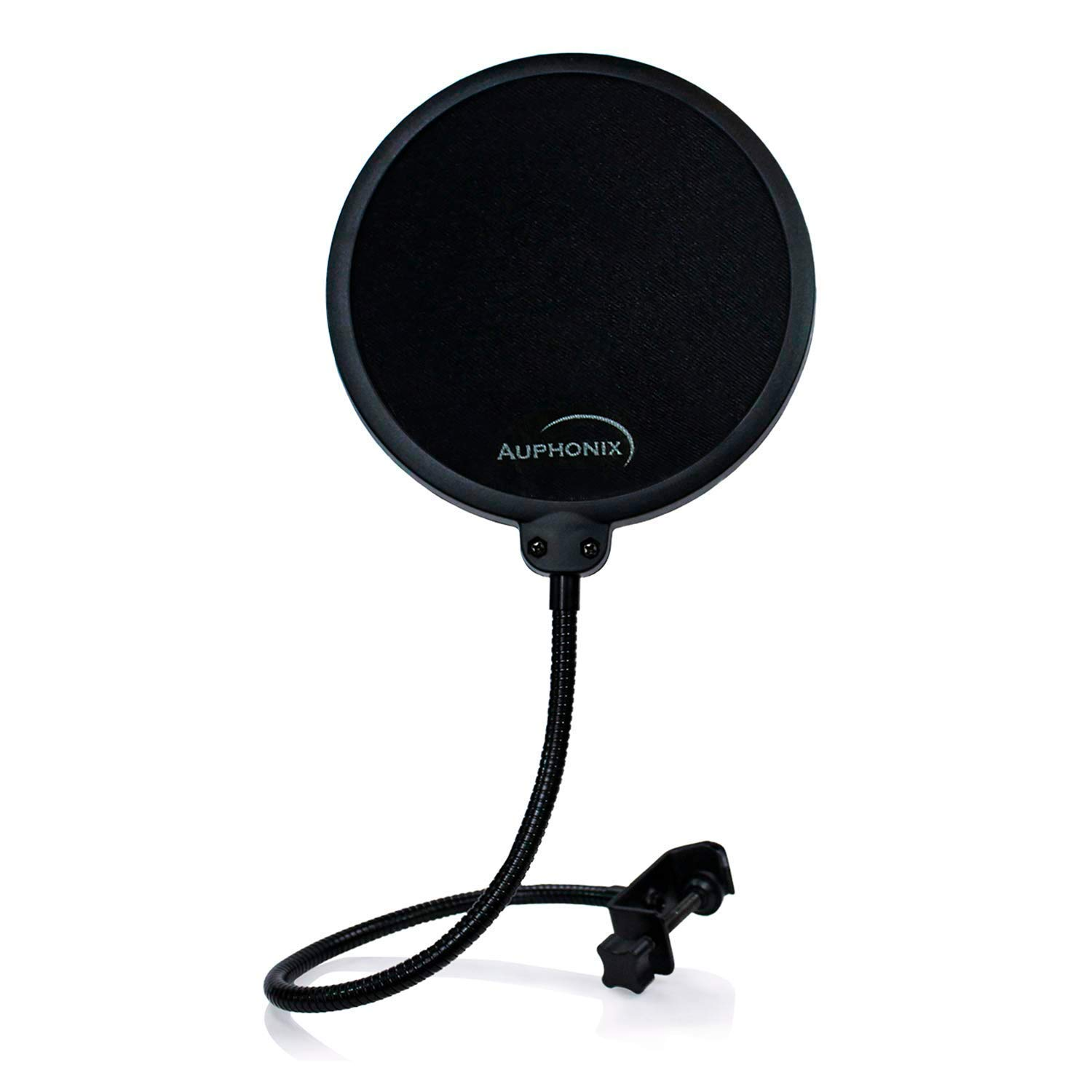 Auphonix Pop Filter Screen for Microphones - Gooseneck Clamp Compatible with Blue Yeti Snowball Microphone