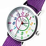 EasyRead time teacher ERW-COL-PT Watch Rainbow Past To, Purple Strap