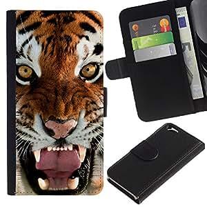 Paccase / Billetera de Cuero Caso del tirón Titular de la tarjeta Carcasa Funda para - Roar Yawn Tiger Angry Feline Cat Big - Apple Iphone 6 4.7