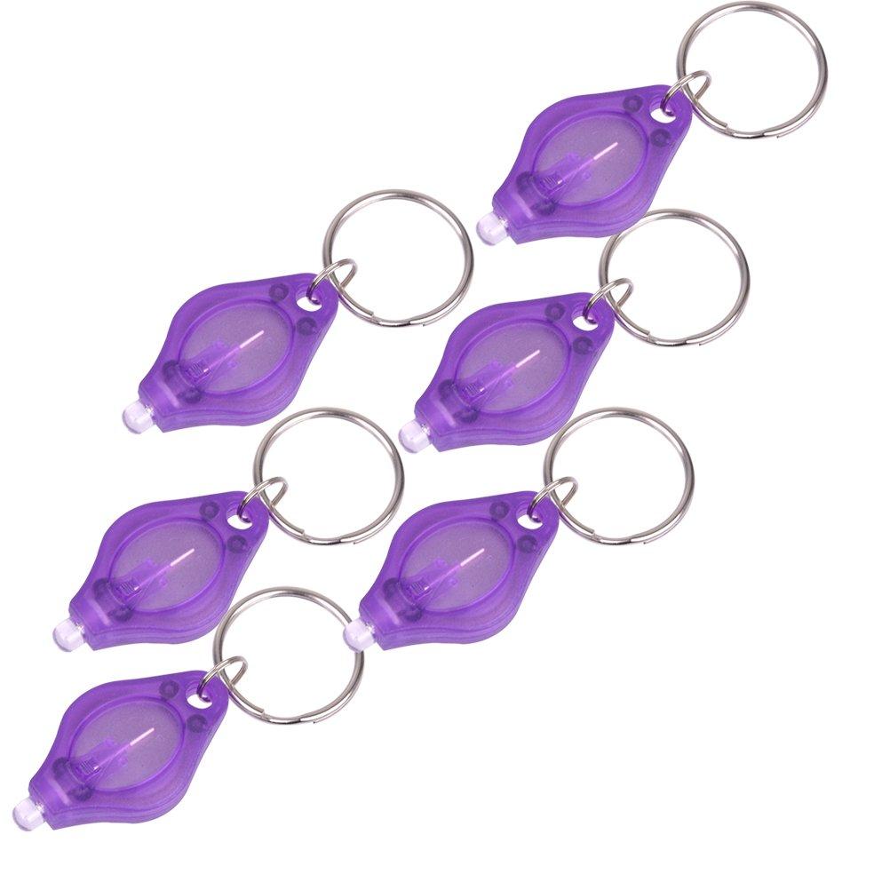 Ledmomo LED Key Light Keychain Mini Plastique lampe de poche lumineux lumi/ère UV Porte-cl/és lampe torche 6/pcs Violet Violet