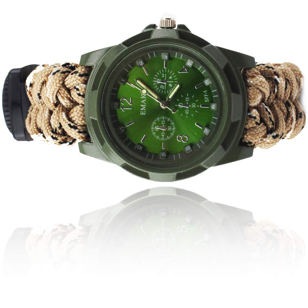 SPORS Umbrella Rope Making Handmade Watches, Multi-Function Flint Watch, Compass Outdoor Camping Watch-DesertCamouflage by SPORS