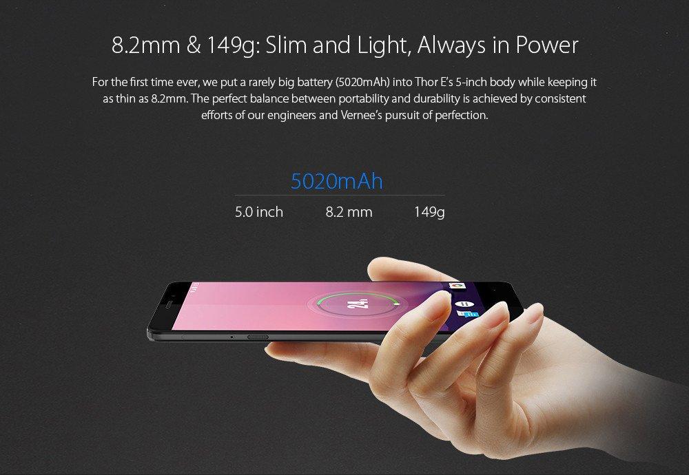 Vernee Thor E - Android 7.0 5020mAh Batería 4G Smartphone Cuerpo de metal completo, 8.2mm slim & 149g de luz, Octa Core 3GB RAM + 16GB, 30min de carga ...