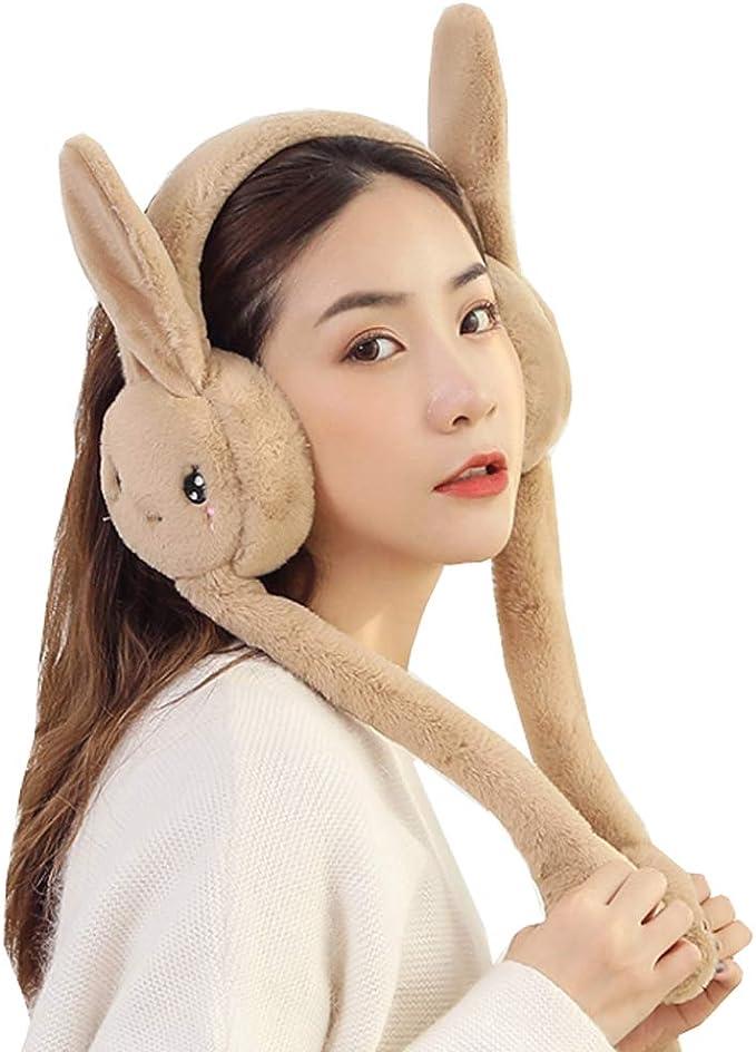 Girls Cute Funny Pop Up Moving Bunny Ear Rabbit Ear Warm Earmuff for Kids Boys