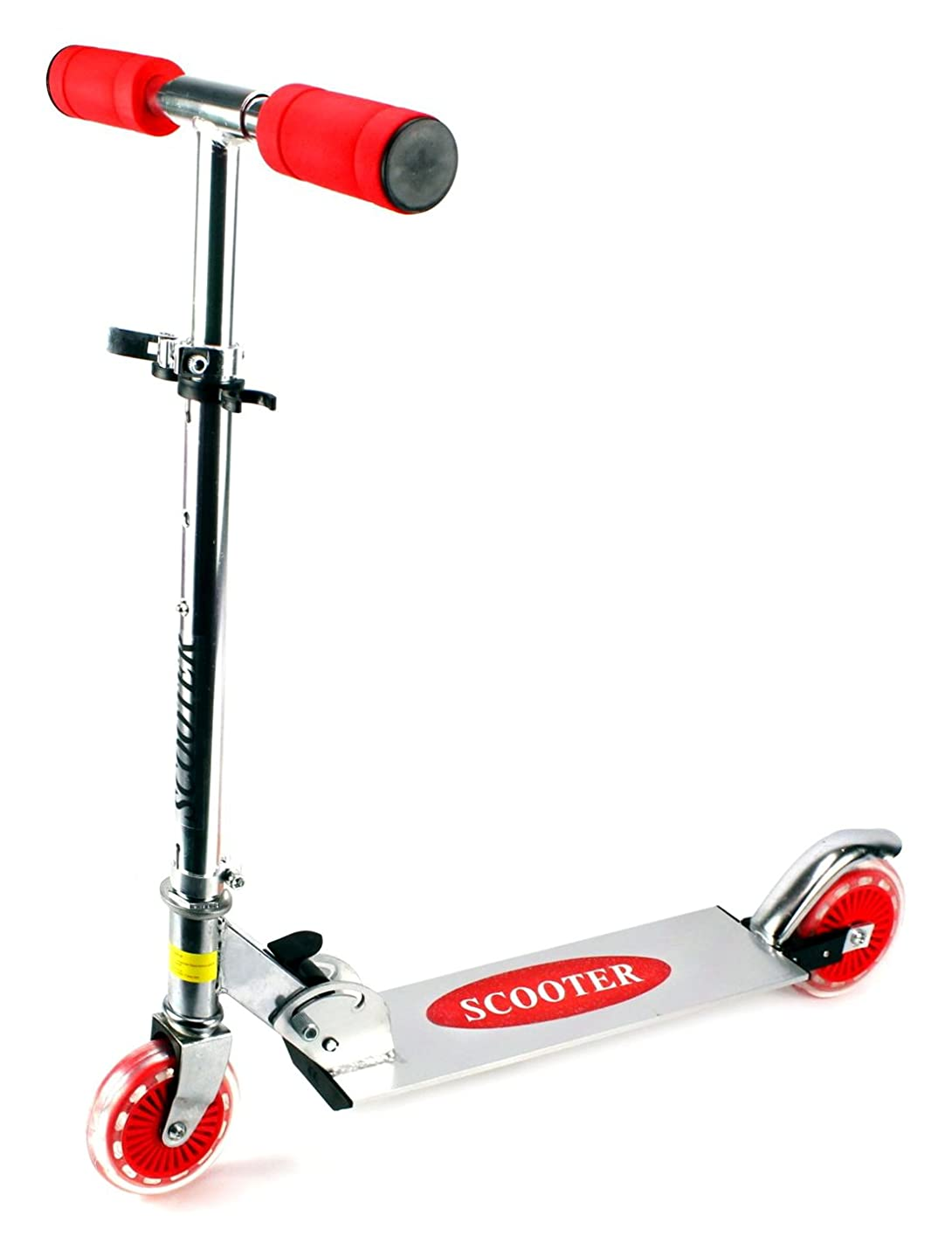Kick Riders Aluminum Children's Two Wheeled Metal Toy Kick Scooter, Adjustable Handlebar Height (Red)