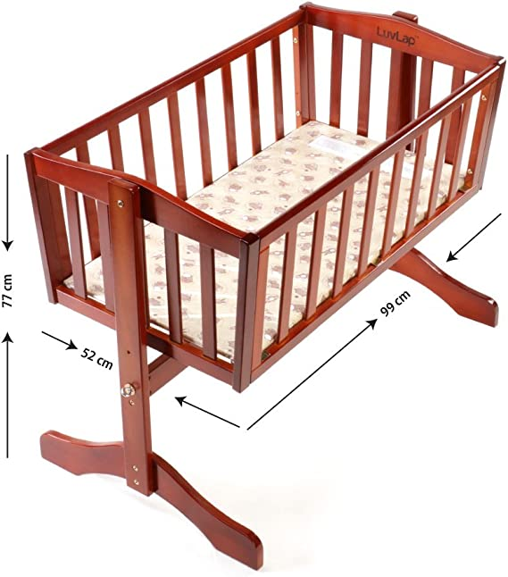 LuvLap Baby Wooden Cot C-10 with Swing & Mosquito Net (Cherry Red)