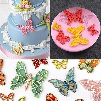 Sharon zhou 6 Forma de la Mariposa de la cavidad Molde de la Torta del silicón ...