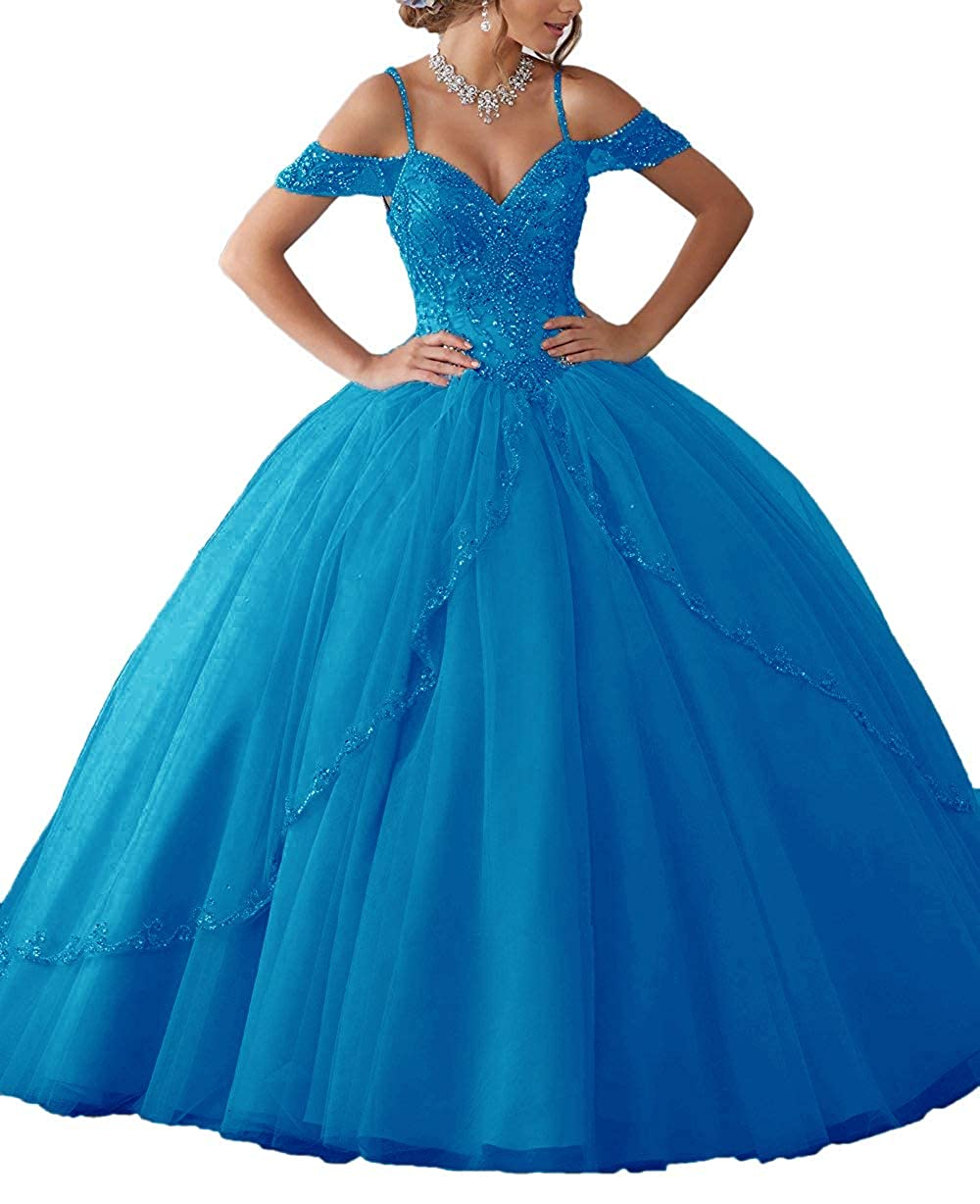bluee APXPF Women's Cap Sleeves Crystals Beaded Quinceanera Dress Sweet 16 Ball Gown Prom Dress
