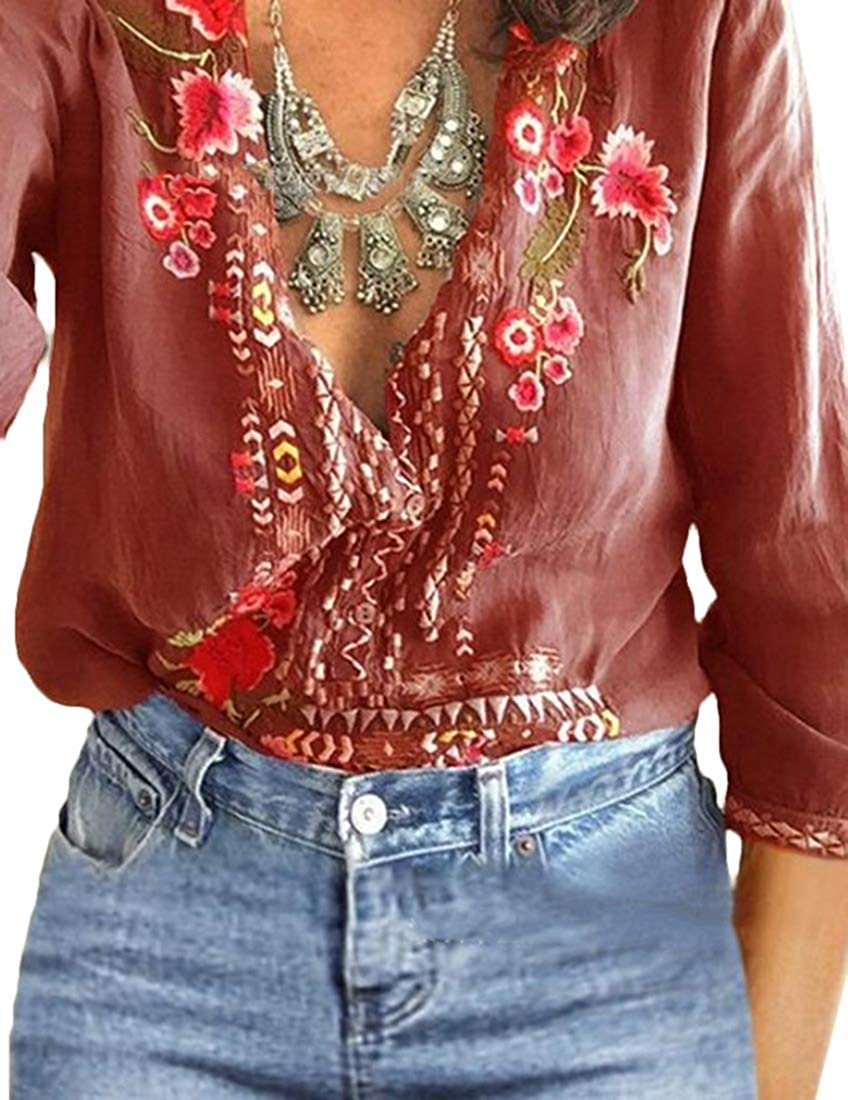 Vska Womens V Neck Casual Ethnic Style Loose Emboridered T Shirts