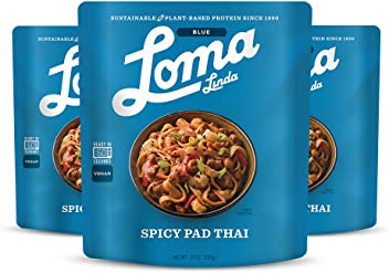 Loma Linda Blue - Vegan Complete Meal Solution - Heat & Eat Spicy Pad Thai (10 oz.) (Pack of 3) - Non-GMO