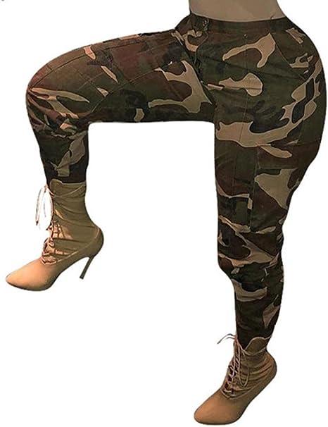 Pantalones Mujer elegante Sexy de camuflaje Pantalones de chándal ...