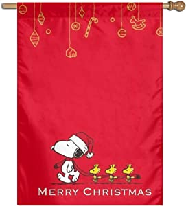 WOMFUI Snoopy Merry Christmas Garden Flag Double Sided Courtyard Sign Outdoor Lawn Decoration