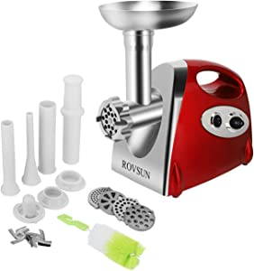 ROVSUN Electric Meat Grinder, 800W Stainless Steel Mincer Sausage Stuffer, Heavy Duty Food Processor with 4 Grinding Plates-3 Sausage Tubes-2 Blades -Kubbe Attachment&Brush, Red (Renewed)