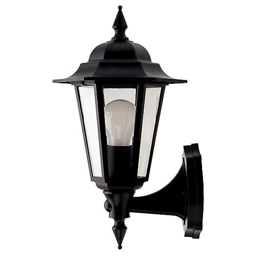 Jcc jc32012blk montella black ip44 wall mounting lantern c w pir bottom arm 60w