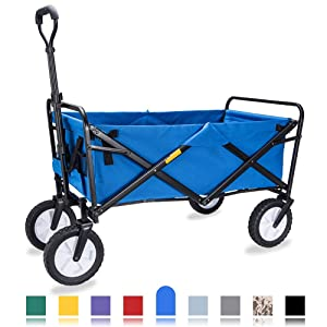 WHITSUNDAY Collapsible Folding Garden Outdoor Park Utility Wagon Picnic Camping Cart with Replaceable Cover (Standard Size, Blue)