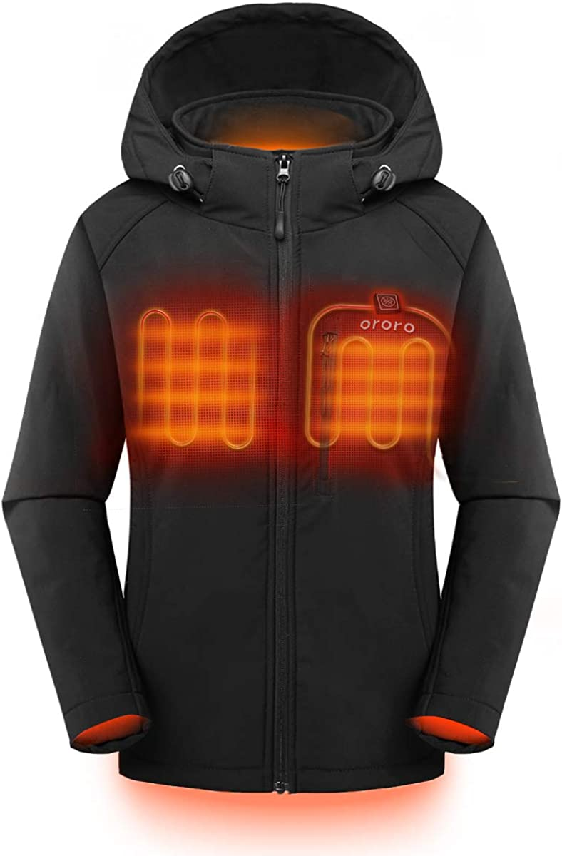 ORORO Women's Slim Fit Heated Jacket with Battery Pack and Detachable Hood