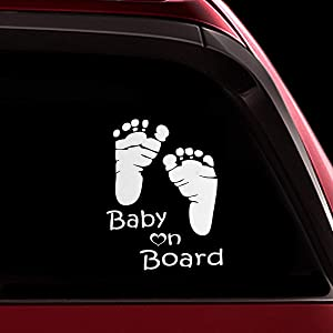 TOTOMO Baby on Board Sticker - Funny Cute Safety Caution Decal Sign for Cars Windows and Bumpers - Footprint ALI-036