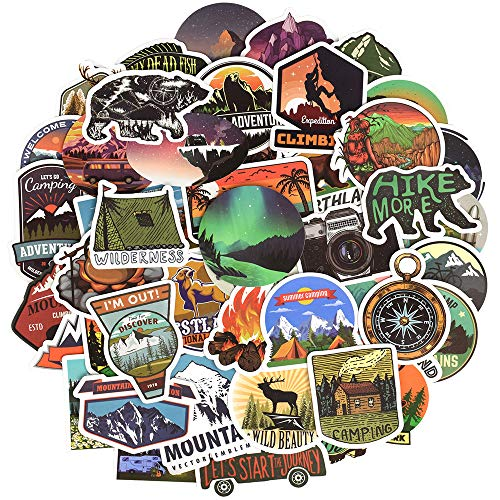 Waterproof Vinyl Stickers for Laptop Water Bottle Bike Car Decals (50 Pcs Outdoor Adventure (Best Hiking Stickers)