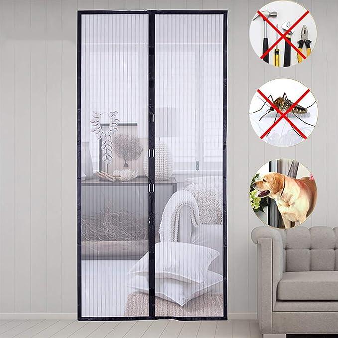 Uni-Wert Mosquitera magnética para puerta Cortina (fácil de instalar, cortina magnética para puerta de balcón, sótano, terraza, etc.), poliéster, Negro, 100x210 cm: Amazon.es: Bricolaje y herramientas