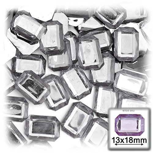 (The Crafts Outlet 144-Piece Acrylic Aluminum Foil Flat Back Octagon Rectangle Rhinestones, 13 by 18mm,)