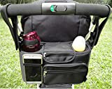 Best Stroller Organizer Bag, Chilly Pram Organizer Stroller Cup Holders with Removable Shoulder Strap, Fit All Strollers, Extra Large Storage Space for All Personal Belongings (Classic)