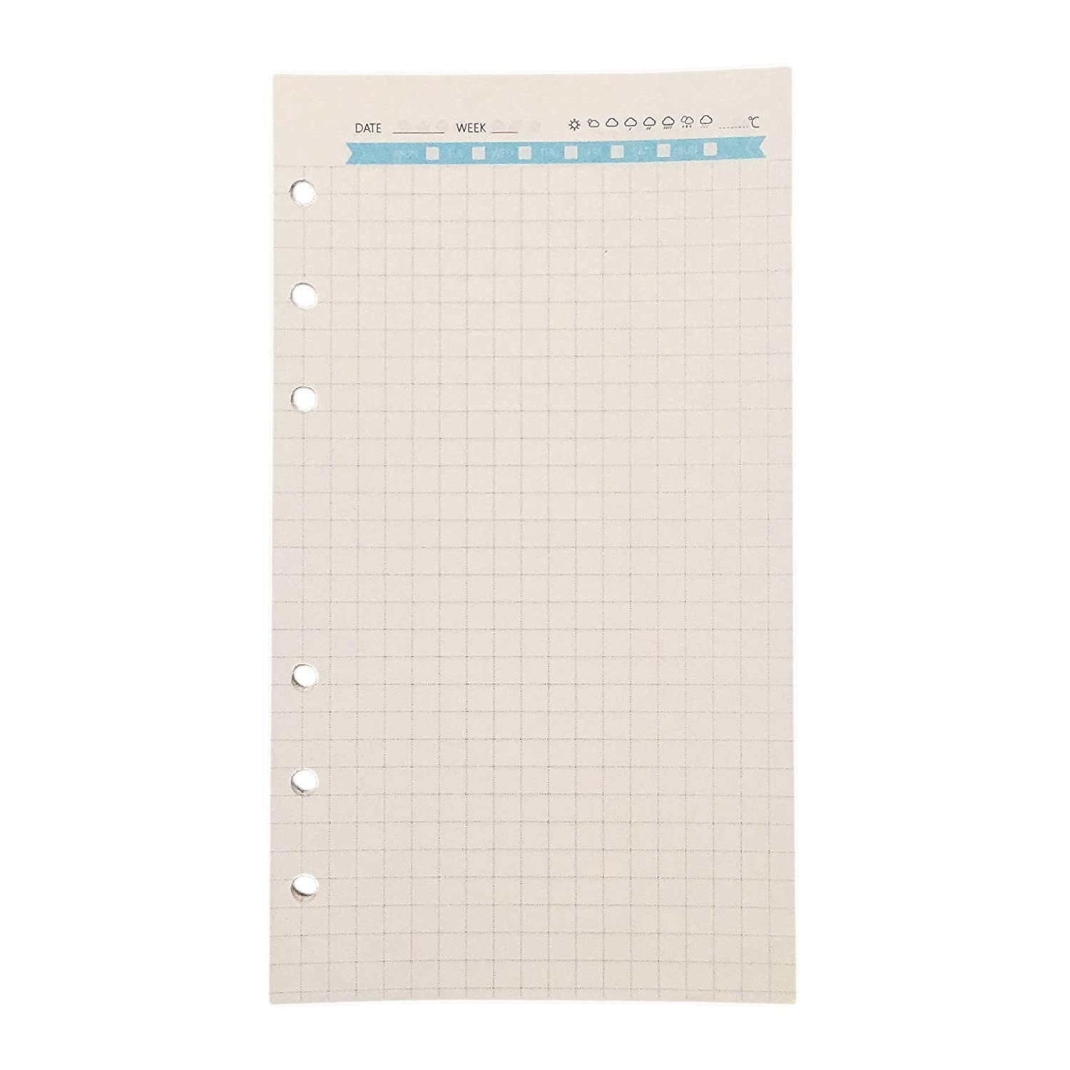 Weekly Planner Refill Paper for 8.5 inch A5 6-Holes Round Ring Binder pack of 2