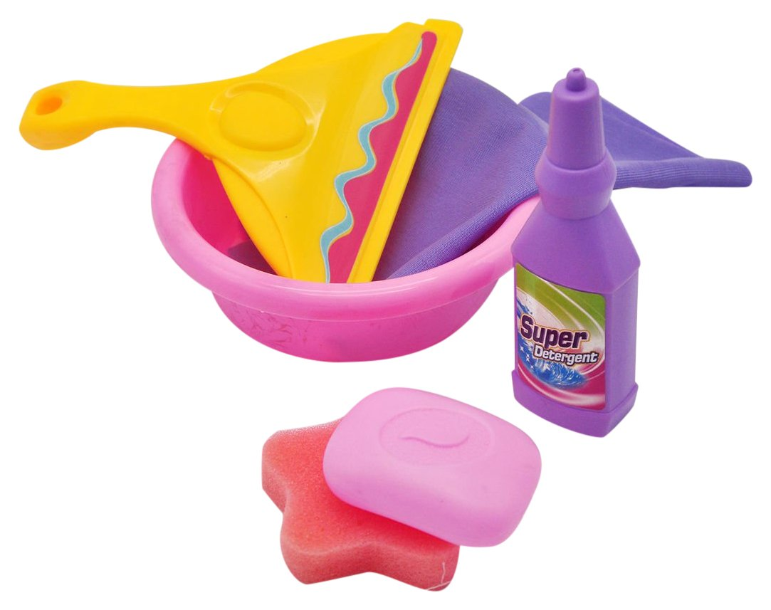 Little Treasures Helper Cleaning Toy Play Set for Ages 3 and Up, Includes Pretend Play Towel, Water Bowl Pail, Mock Soap and Soap Bottle in an Educational Learning Game for Little Preschoolers ltc-24