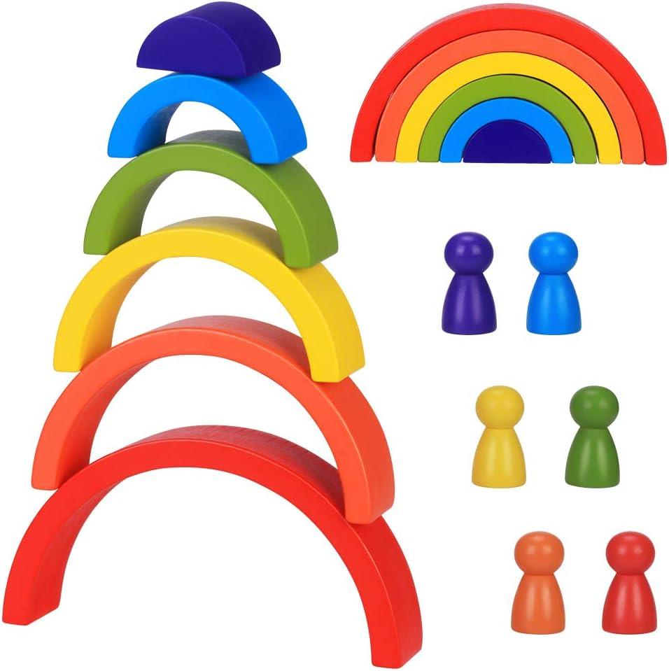 Japace Bloques De Madera Arcoíris, Apilador De Arco Iris Juguetes Puzzle de Anidamiento, 6 Color Montessori Educativos Bloques De Construcción para Niño Niña Bebé