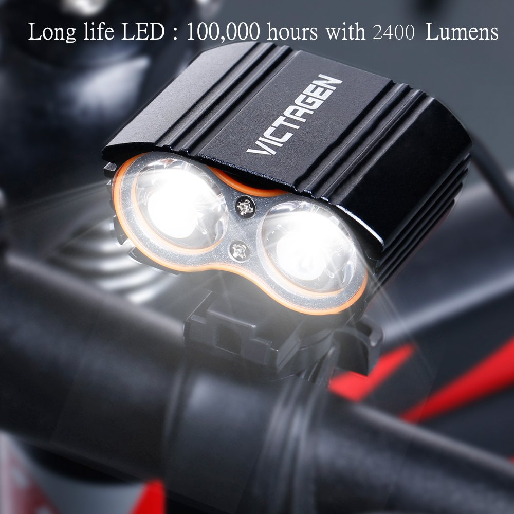 Victagen Bike Front Light,Super Bright Waterproof Bicycle Light,USB Rechargeable 2400 Lumens led Cycle Light, Free Tail Light,Easy to Install Safety LED Flashlight Cycling,Commuting,Riding by Victagen (Image #6)