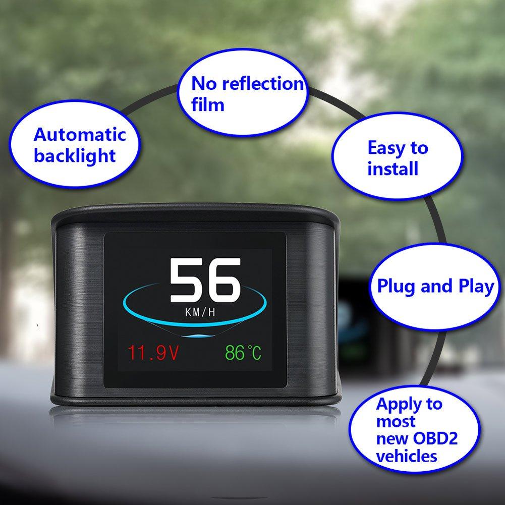 Liamostee P10 Veloc/ímetro Digital Inteligente con Pantalla LCD y esc/áner OBD 2