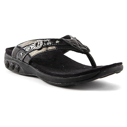 9841911e874621 Therafit Shoe Women s Brittany Jeweled Patent Leather Walking Sandal ...