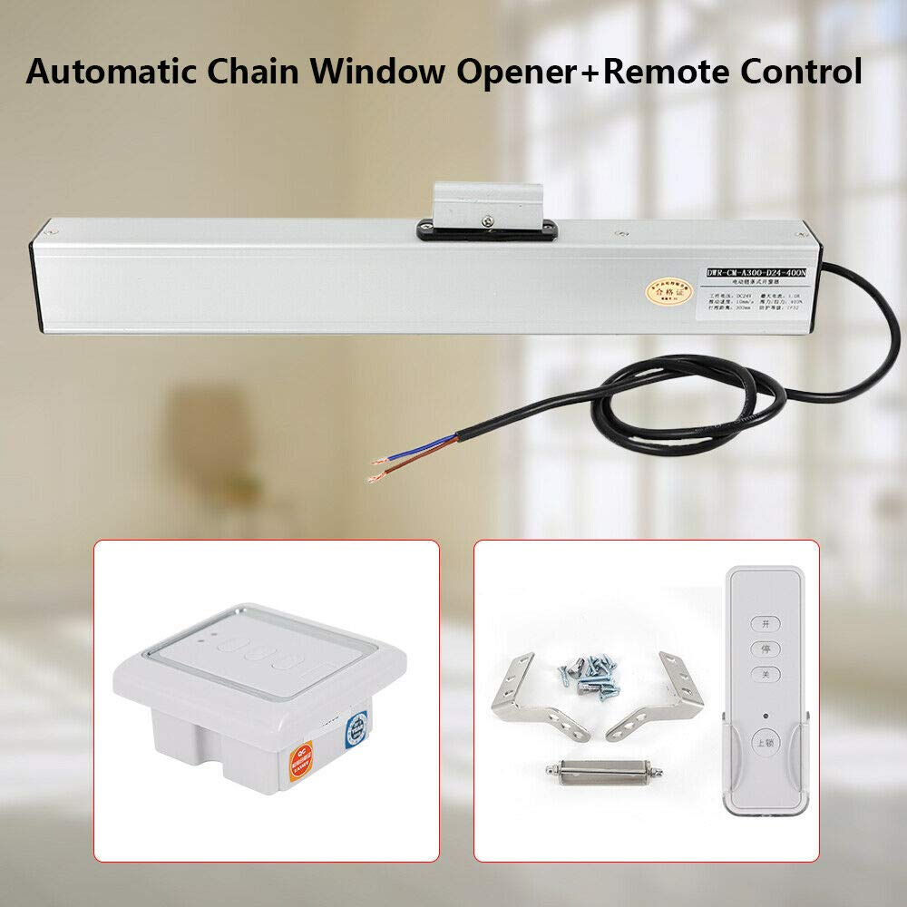 BoTaiDaHong Automatic Electric Chain Window Opener Motor Actuator Kit with Remote Control CSD300 DC 24V 42 IP Protection Degree 400N Push and Pull Force by BoTaiDaHong